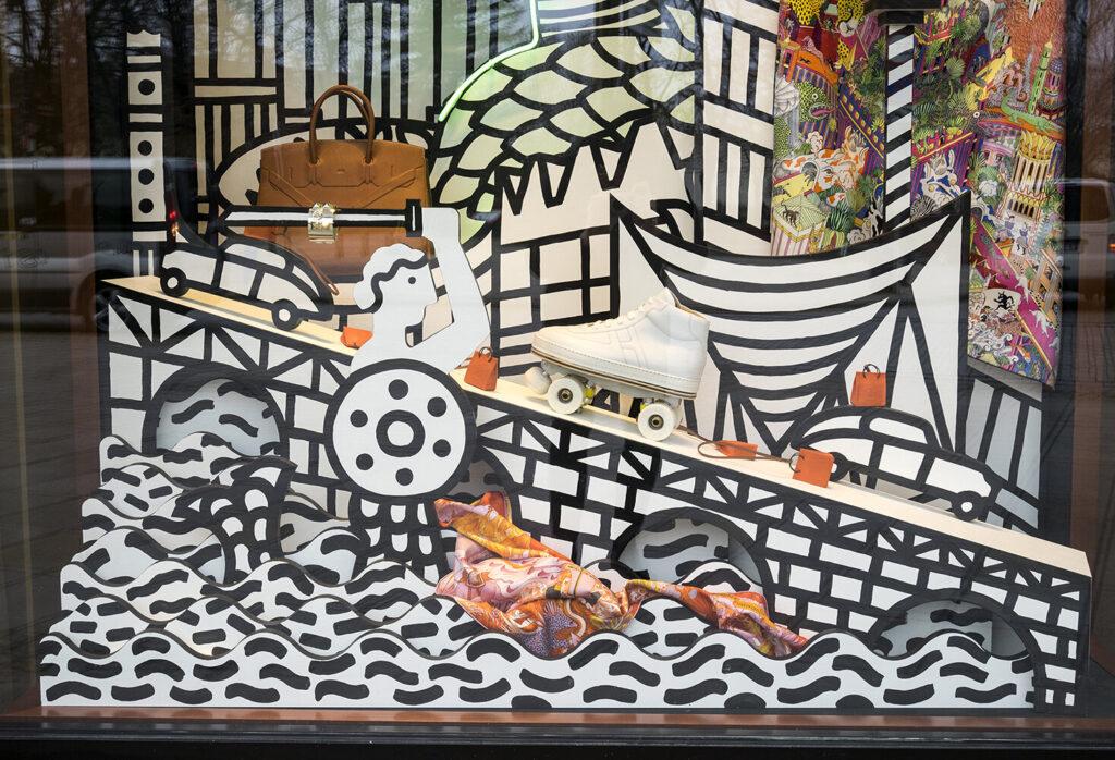Witryna pierwszego sklepu Hermès w Polsce projektu J. Bajtlika. http://bajtlik.eu/