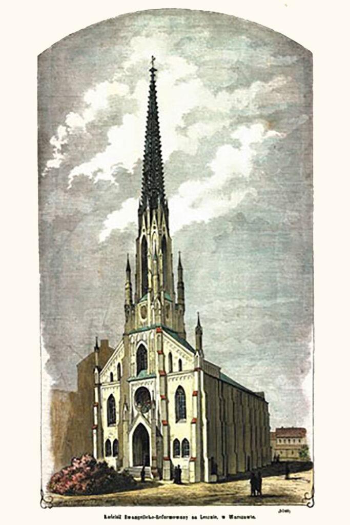 """Stanisław Antoszkiewicz """"Kościół Ewangelicko Reformowany na Lesznie; drzeworyt sztorcowy, 1980"""